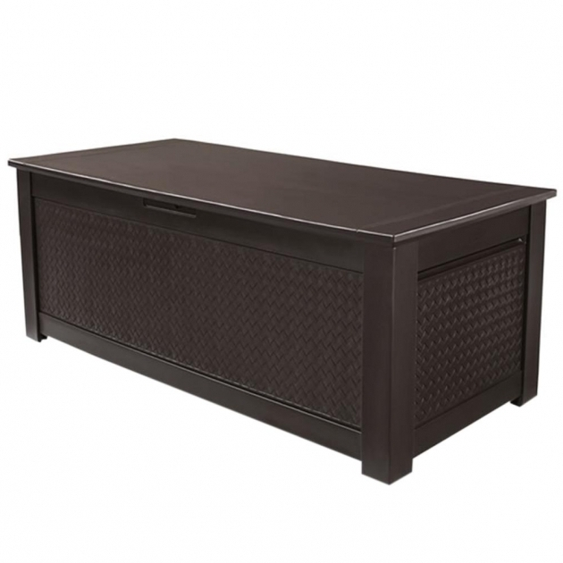 Alluring Rubbermaid 136 Gal Chic Basket Weave Patio Storage Trunk Deck Box Outside Storage Bins