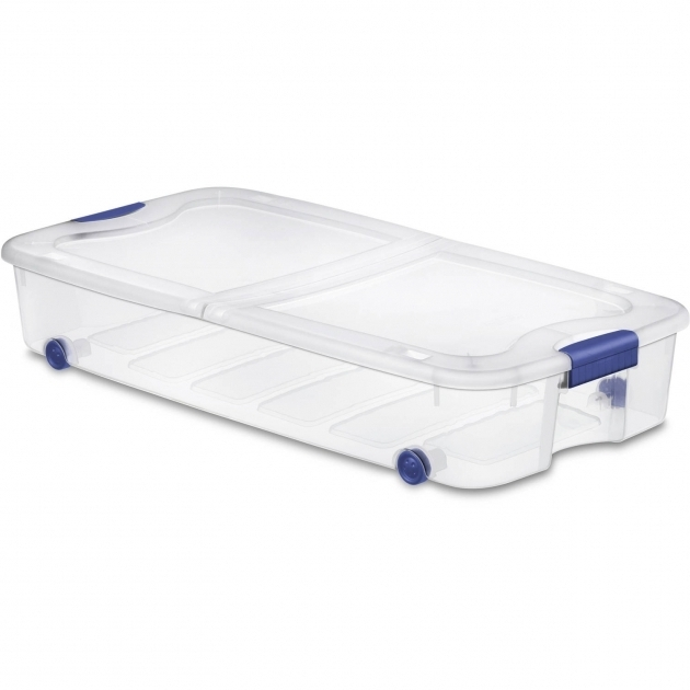 Amazing Sterilite 66 Quart Ultra Storage Box Stadium Blue Walmart Under Bed Storage Bins