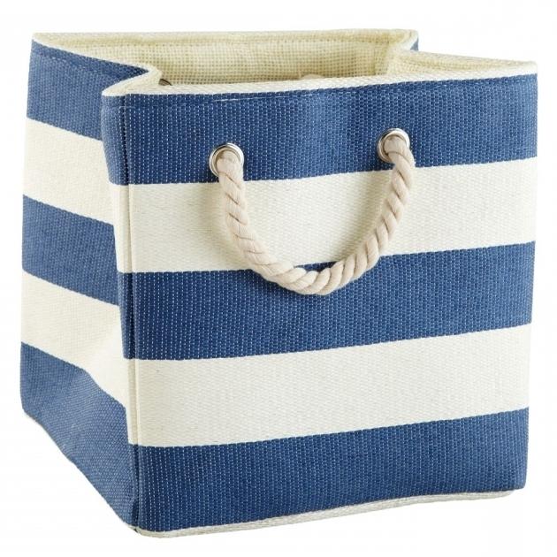 Amazing Storage Interesting White And Blue Strips Of Fabric Storage Bins White Fabric Storage Bins