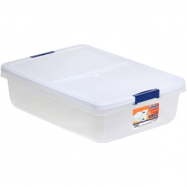 Awesome Hefty 34 Quart Latch Box Clear Base White Lid And Blue Handle Hefty Storage Bins
