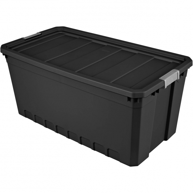 Awesome Sterilite 50 Gallon Stacker Tote Black Case Of 3 Walmart 60 Gallon Storage Bin