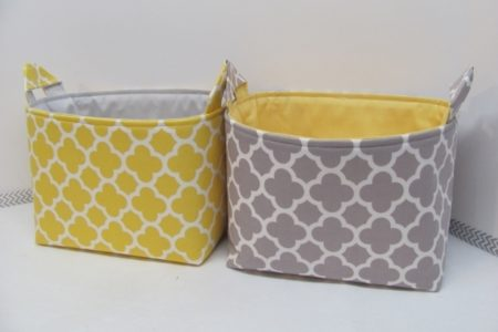 Yellow Fabric Storage Bins