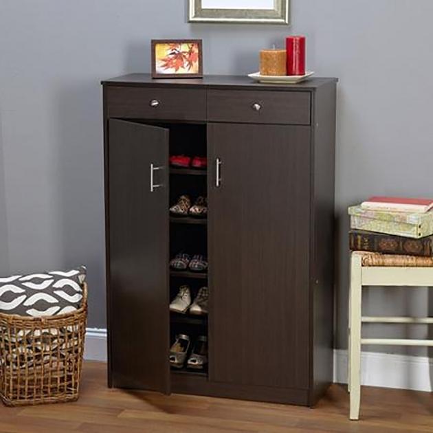 Fascinating 20 Pair Shoe Rack Storage Cabinet 5 Shelf 2 Dresser Drawers Doors Shoe Storage Cabinet With Doors