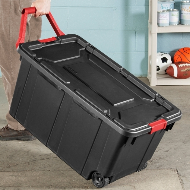 Fascinating Sterilite 40 Gallon Wheeled Industrial Tote Black Case Of 2 40 Gallon Storage Bin