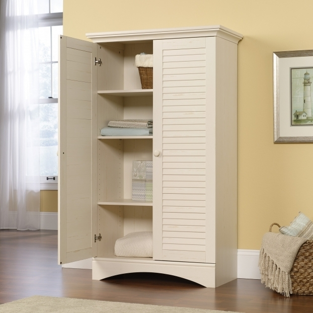 Gorgeous Sauder 400742 Storage Cabinet Antiqued White Harbor View Sauder Storage Cabinet With Drawer