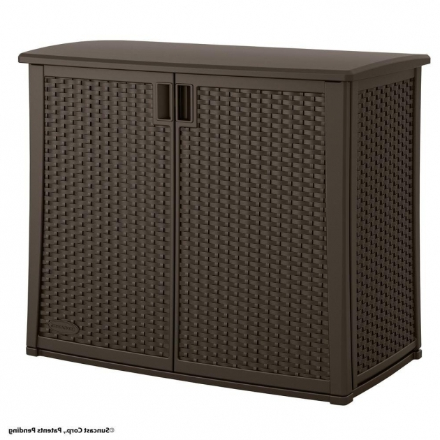 Gorgeous Suncast 97 Gal Resin Outdoor Patio Cabinet Bmoc4100 The Home Depot Tall Outdoor Storage Cabinet