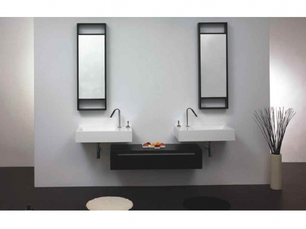 Image of Enchanting Modern Bathroom Wall Cabinet Design With Black Floating Floating Storage Cabinets