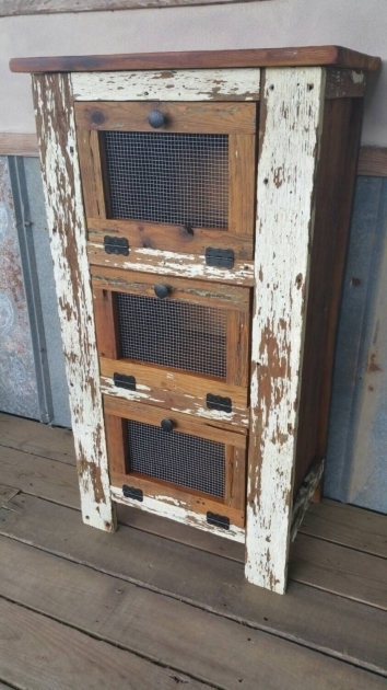 Image of Rustic Vegetable Bin Potato Bread Box Storage Cupboard Primitive Wooden Vegetable Storage Bin