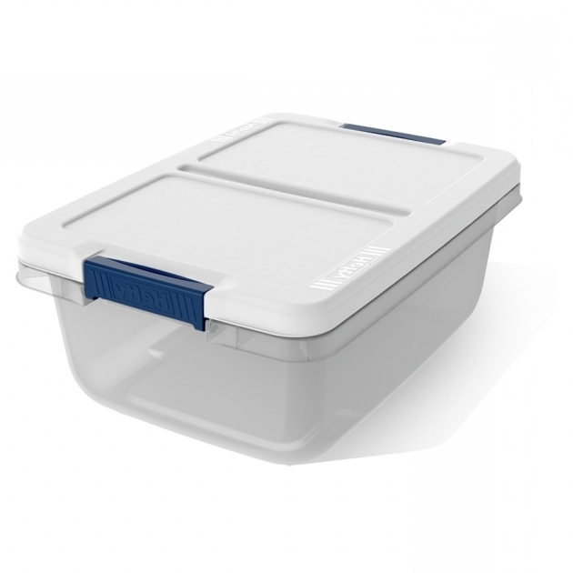Image of Shop Hefty 15 Quart Clear Tote With Latching Lid At Lowes Hefty Storage Bins