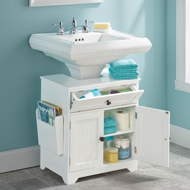Image of The Pedestal Sink Storage Cabinet Hammacher Schlemmer Bathroom Pedestal Sink Storage Cabinet
