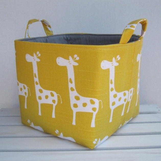 Incredible Yellow Slub White Gisella Giraffe Fabric Organizer Bin Toy Yellow Fabric Storage Bins