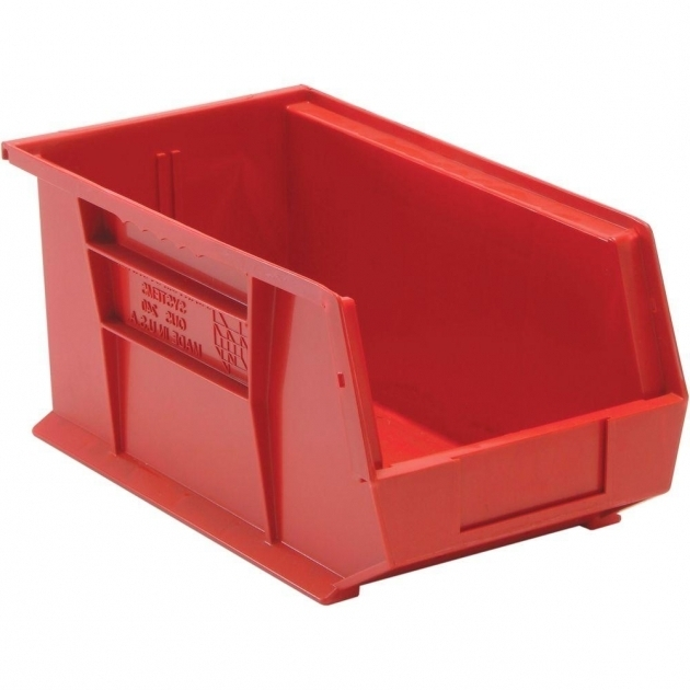 Marvelous Edsal 34 Gal Stackable Plastic Storage Bin In Red 12 Pack Red Plastic Storage Bins