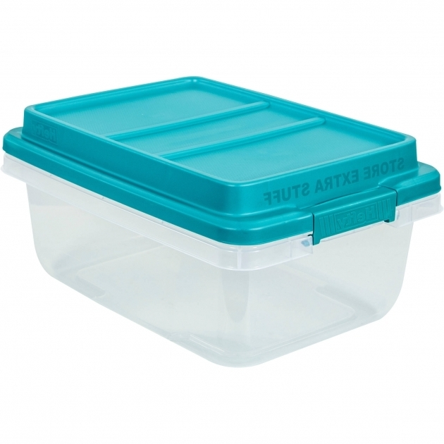 Marvelous Hefty 18 Qt Hi Rise Clear Latch Box Teal Sachet Lid And Handles Hefty Storage Bins