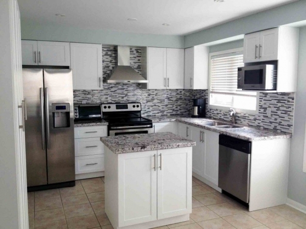 Picture of Painted White Kitchen Cabinets Before And After White Wooden Floating Storage Cabinets
