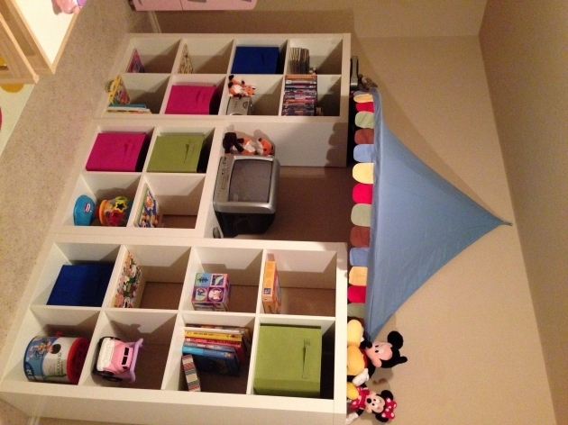 Picture of Playroom Shelving Expedit Shelves And Awning From Ikea Storage Kids Storage Shelves With Bins