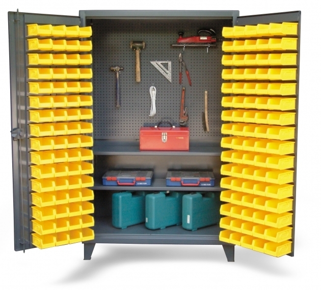 Picture of Upright Tool Storage Bin Cabinet Bin Cabinet With Pegboard Back Upright Storage Cabinet