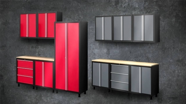 Stunning Gray And Red Color Painted Metal Garage Storage Cabinet Door Used Metal Storage Cabinet