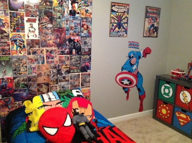 Stunning My Sons Super Hero Bedroom Homemade Backboard From Comic Books I Superhero Storage Bins