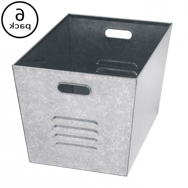 Stylish Edsal 12 In W X 11 In H X 17 In D Galvanized Steel Utility Galvanized Metal Storage Bins