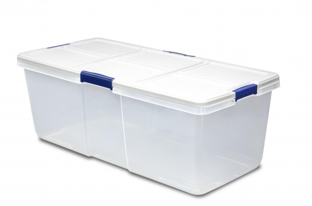 Stylish Hefty 100 Quart Latch Box Large Capacity White Lid And 4 Blue Hefty Storage Bins
