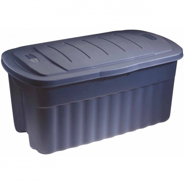 Stylish Rubbermaid Roughneck Jumbo Hinged Storage Box 40 Gal Dark Indigo 40 Gallon Storage Bin