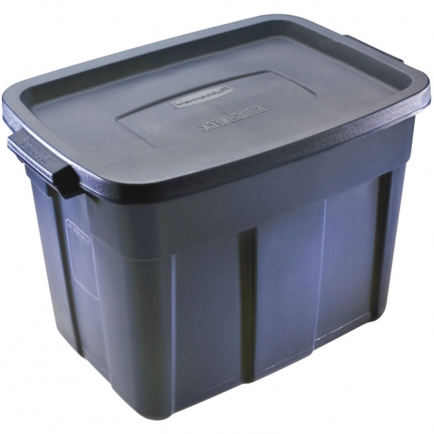 Stylish Rubbermaid Roughneck Storage Box 18 Gal Dark Indigo Metallic 12 Waste Oil Storage Container