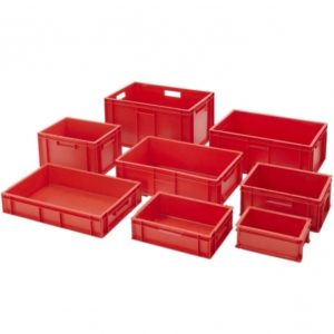 Red Plastic Storage Bins