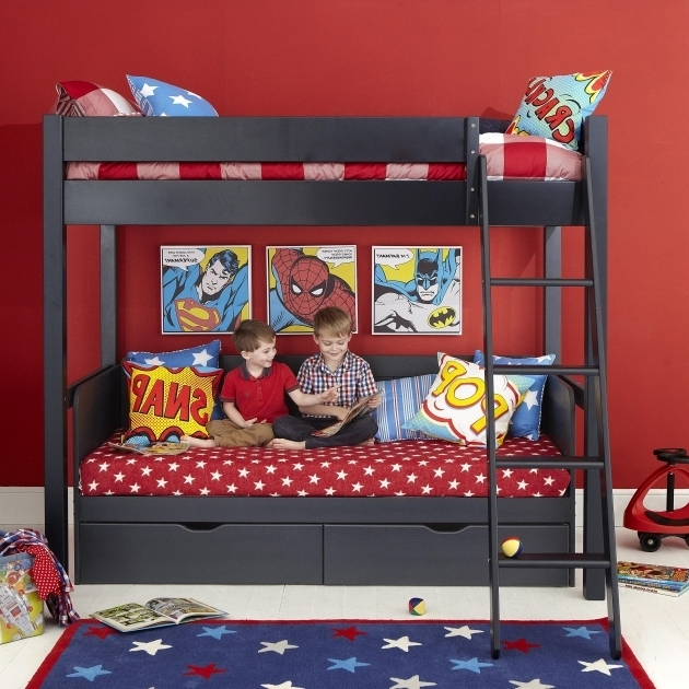Stylish Superhero Themed Black Wooden Aspace Bunk Bed With Star Pattern Superhero Storage Bins