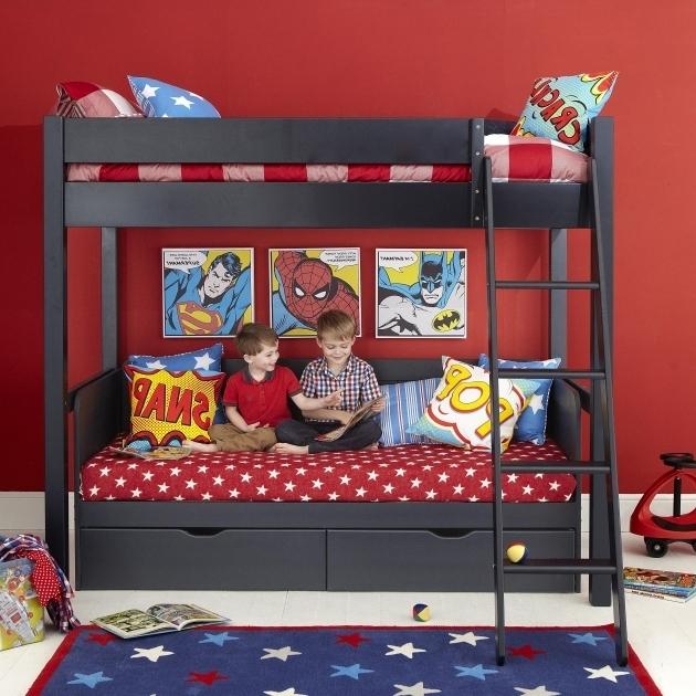Stylish Superhero Themed Black Wooden Aspace Bunk Bed With Star Pattern Superhero Storage Bins