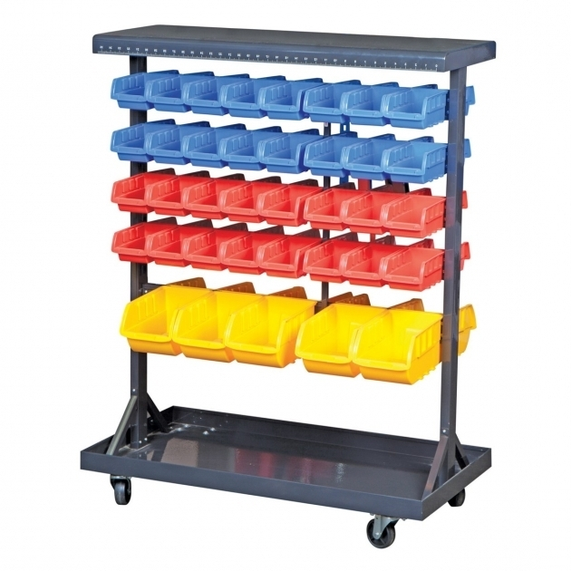Alluring 74 Bin Mobile Double Sided Floor Rack Trips Shelves And Lego Harbor Freight Storage Bins