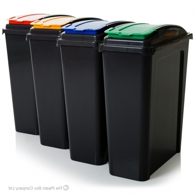 Awesome Buy 25lt Slim Plastic Recycling Bin With Lid Slate Base Tall Plastic Storage Bins