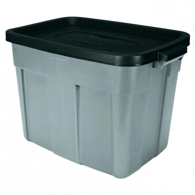 Awesome Rubbermaid 18 Gal Roughneck Tote Fg2215h2micbl The Home Depot Tall Plastic Storage Bins