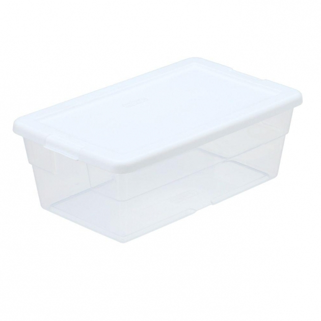 Fascinating Sterilite 6 Qt Storage Box In White And Clear Plastic 16428960 Large Clear Storage Bins