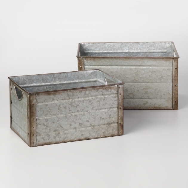 Gorgeous Galvanized Metal Walter Storage Bins Metalli Luci E Vintage Galvanized Storage Bins