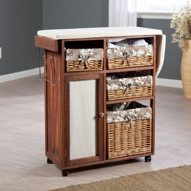 Image of Deluxe Wood Wicker Ironing Board Center With Baskets Laundry Ironing Board Storage Cabinet