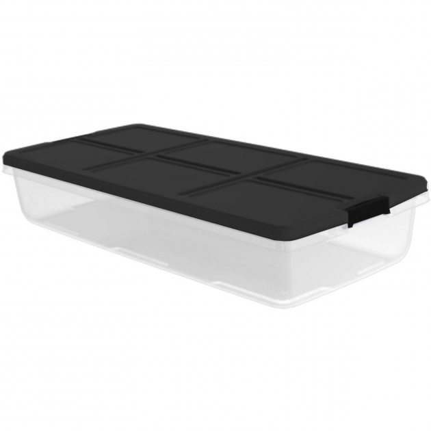 Image of Hefty 52 Quart Latch Box For Under The Bed White Lid And Blue Under Bed Storage Containers