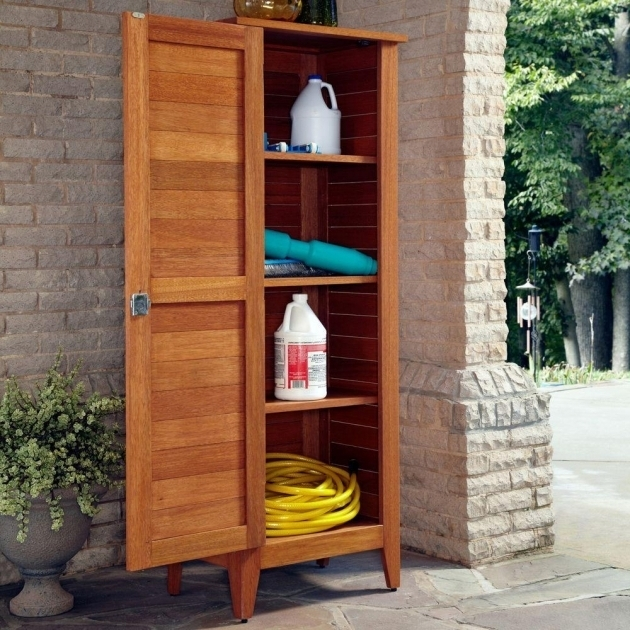 Image of Home Styles 1575 In X 24 In X 645 In Montego Bay One Door Outdoor Storage Cabinets With Shelves