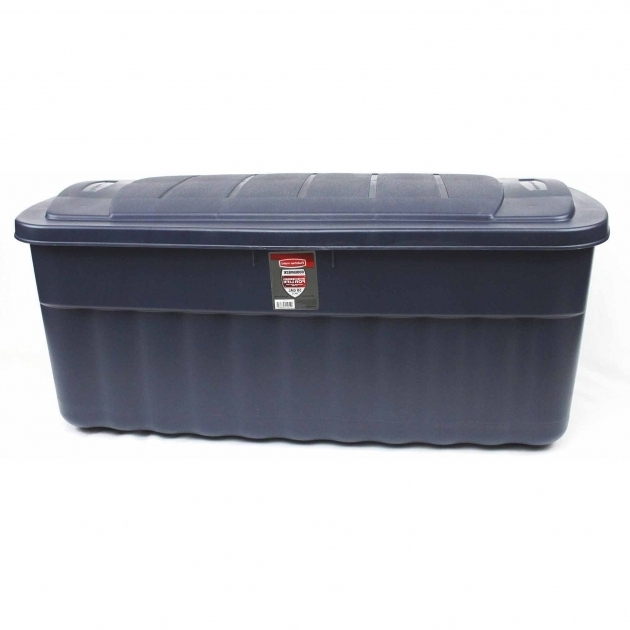 Image of Rubbermaid Roughneck Jumbo Storage Box 50 Gal Dark Indigo Extra Large Storage Bins