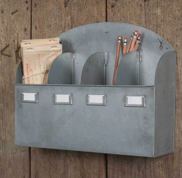 Inspiring Industrial Metal 4 Compartment Arbor Wall Organizer With Tag Galvanized Storage Bins