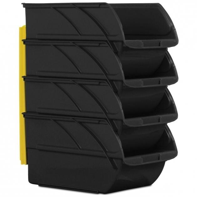 Outstanding Stanley 6 In X 12 58 In Black Storage Bins 4 Pack 057304r Storage Bins At Home Depot