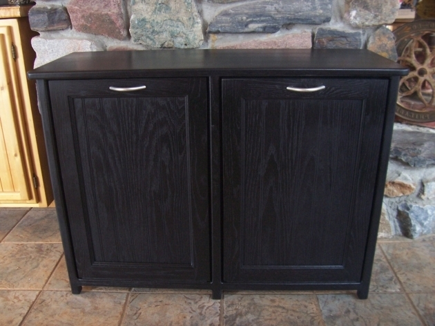Picture of New Black Painted Wood Double Trash Bin Cabinet Garbage Can Trash Bin Storage Cabinet