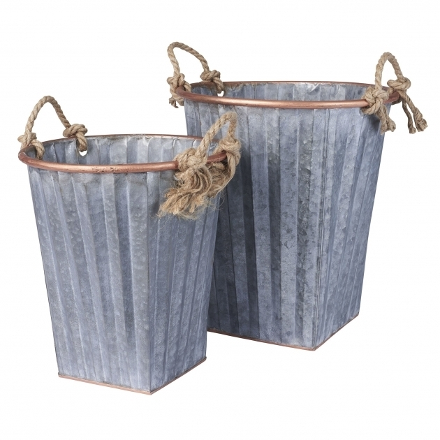 Remarkable Household Essentials 2 Piece Galvanized Metal Bin Set Reviews Galvanized Storage Bins