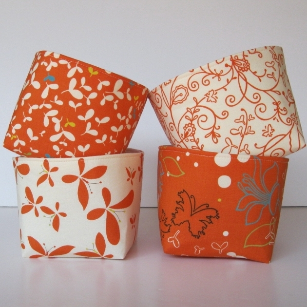 Stunning Mini Fabric Storage Container Organizer Bins Set Of 4 Moda Orange Storage Bins