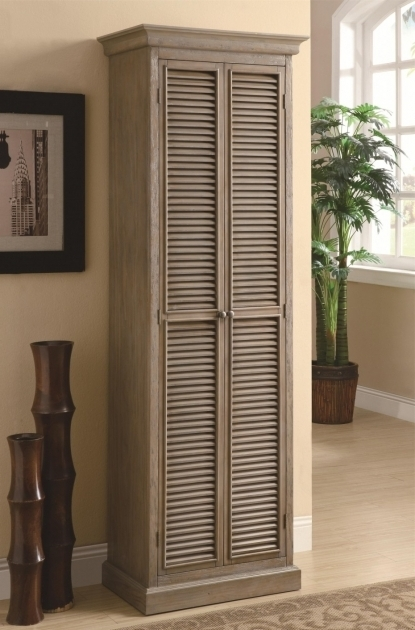 Stylish Unpolished Shutter Door Tall Storage Cabinet Placed On Cream Tall Storage Cabinets With Doors And Shelves