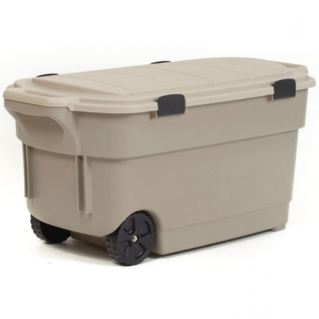 Alluring Shop Centrex Plastics Llc Rugged Tote 45 Gallon Brown Tote With Plastic Storage Containers With Wheels
