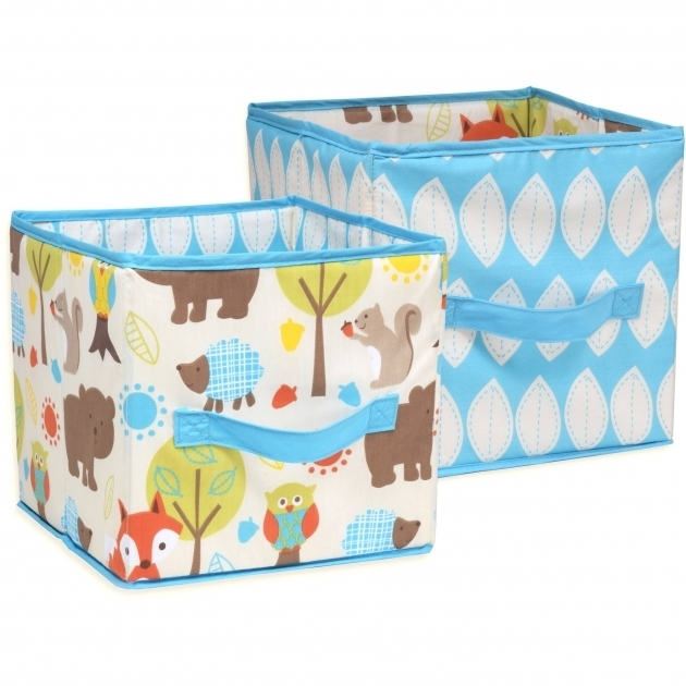 Amazing Little Bedding Nojo Woodlands Collapsible Storage Bin 2 Pack Turquoise Storage Bins