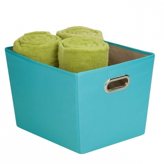 Fantastic Honey Can Do 383 Qt Medium Decorative Storage Bin With Handles Teal Storage Bins