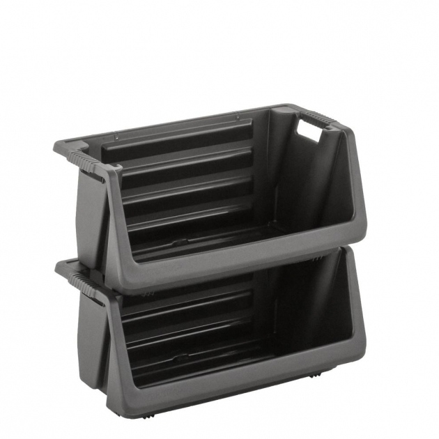 Fantastic Husky Stackable Storage Bin In Black 232387 The Home Depot Husky Stackable Storage Bins
