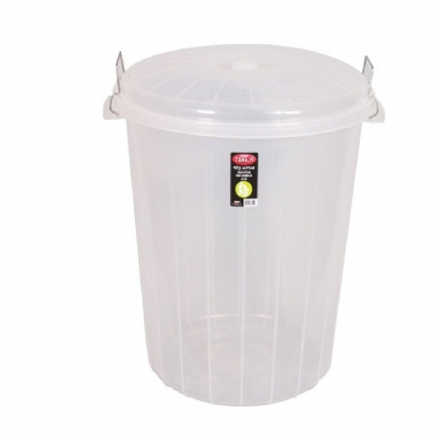 Image of Buy Large 50lt Clear Plastic Bin With Clip On Lid Storage Bins With Locks