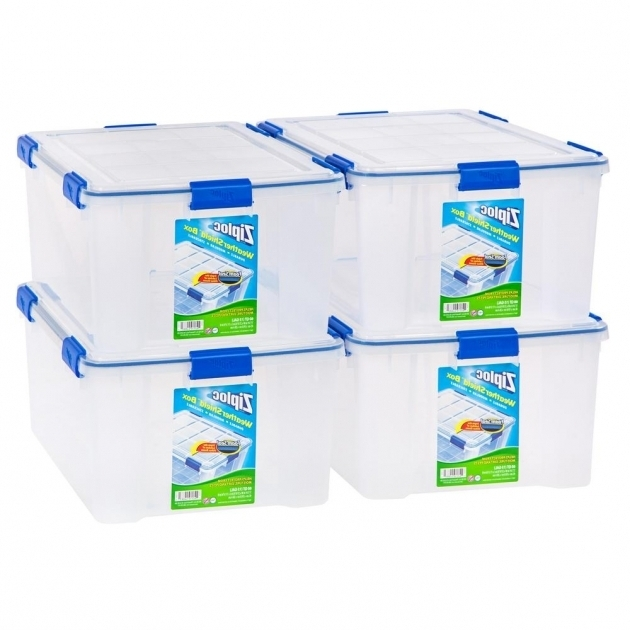 Image of Iris 60 Qt Ziploc Weather Shield Storage Box In Clear Pack Of 4 Ziploc Storage Bins